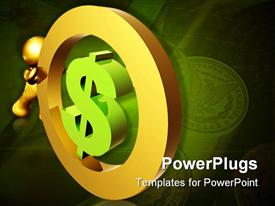 PowerPoint template displaying gold figure rolling dollar sign with stack of coins in background, finance, economy, saving, retirement, wealth management
