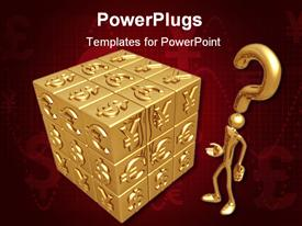 PowerPoint template displaying gold figure and question mark next to cube covered with various currency symbols