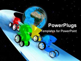 PowerPoint template displaying currency symbols with wheels racing, globe background, world economy, economic race