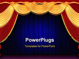 PowerPoint template displaying red and gold theater curtain tied back in front of blue curtain