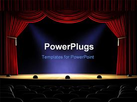 PowerPoint template displaying view from rear of empty theater with spotlights on stage and open red curtain
