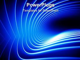 PowerPoint template displaying shining curved lines, waving glowing lines on blue background