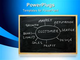 PowerPoint template displaying business strategy chart on a chalk board, on a blue background