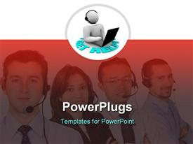 PowerPoint template displaying four people wearing headsets and smiling together