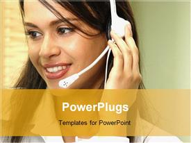 PowerPoint template displaying pretty customer service lady wearing a white headset and smiling