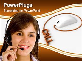 PowerPoint template displaying a customer service person with a mouse in the background