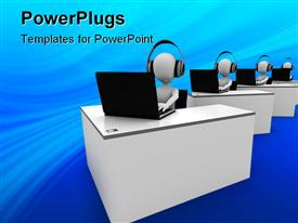 PowerPoint template displaying four animated white human figures with headsets and laptops