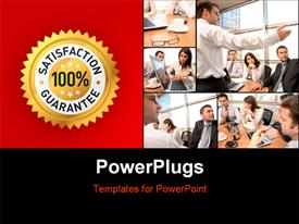 PowerPoint template displaying collage of office workers with 100% satisfaction guarantee label