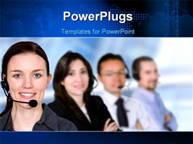 PowerPoint template displaying business customer service team in an office environment in the background.