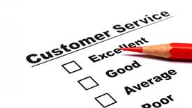 Customer service survey with checkbox on form an red pencil presentation background
