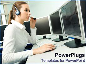 Female customer service representative works away powerpoint design layout