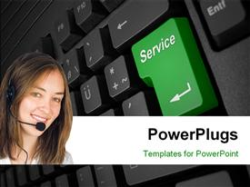 PowerPoint template displaying a pretty smiling lady wearing a head set on a keyboard background