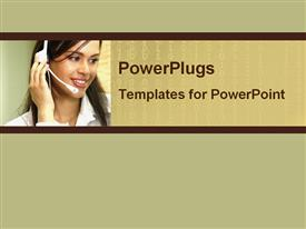 PowerPoint template displaying pretty female customer service representative smiling on a brown background