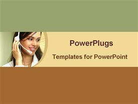PowerPoint template displaying a call center girl dealing with customers
