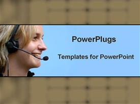 PowerPoint template displaying a call center girl smiling with bluish background