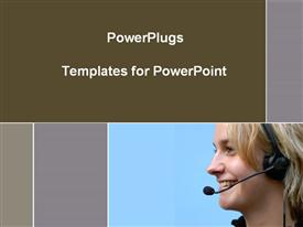 PowerPoint template displaying smiling woman wearing telephone headset on blue and gray background