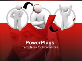 PowerPoint template displaying three 3D characters and a pretty femal call center