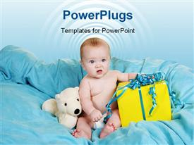 PowerPoint template displaying a kid with a number of gifts on a bed
