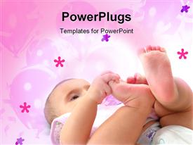 PowerPoint template displaying cute baby boy playing on a floral pink background