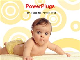 PowerPoint template displaying a cute baby boy lying on a soft white blanket