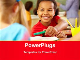 PowerPoint template displaying cute girl giving crayon to classmate at lesson