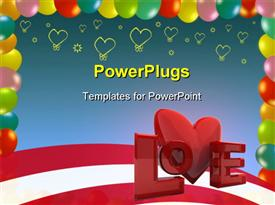 PowerPoint template displaying a representation of love with a number of hearts in the background