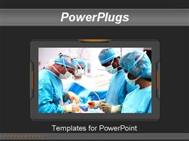 PowerPoint template displaying dark grey template with doctors in uniform having operation in hospital in 3D style frame in the background.