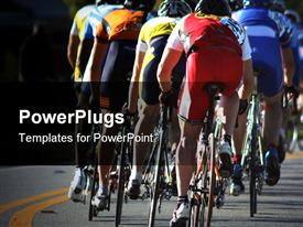PowerPoint template displaying a group of cyclists moving on the road on their rides