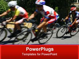 PowerPoint template displaying cycling, racing, racers, bike, bicycle, sports, speed, riding