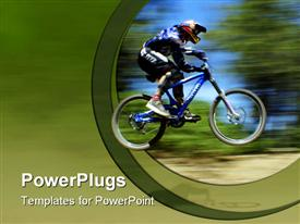 PowerPoint template displaying blurred depiction of mountain bike racer with blurred trees and ground