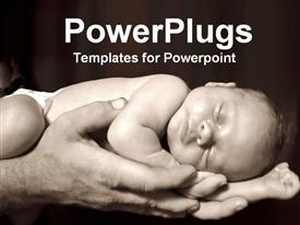 PowerPoint template displaying father holding child baby sleeping black and white background