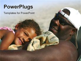 PowerPoint template displaying handsome African American man spends a special moment with his cute little girl in the background.