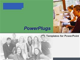 PowerPoint template displaying a number of classmates with greenish background