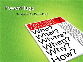 PowerPoint template displaying who what where when why how. Journalism news concept