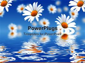 PowerPoint template displaying white flowers falling from sky into water
