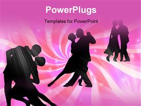 PowerPoint template displaying six people dancing together in pairs of two on a pink background