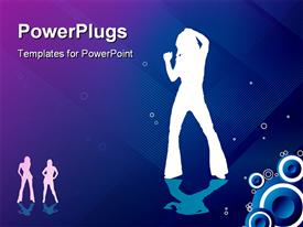 PowerPoint template displaying white silhouettes of women dancing, speakers, blue and purple background