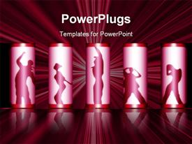 PowerPoint template displaying various people dancing in the silhouettes with illuminating background
