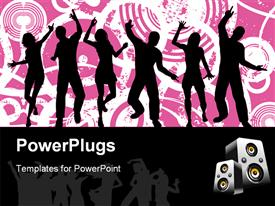 PowerPoint template displaying silhouettes of people dancing on pink and white grunge background, speakers on black border