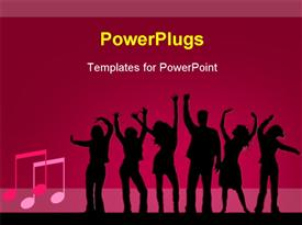 PowerPoint template displaying silhouette of people dancing on pink background with music symbol