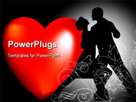 PowerPoint template displaying male and female dancing with a heart symbol beside them