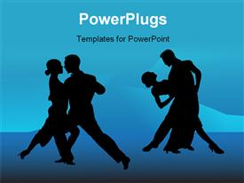 PowerPoint template displaying tango couples on blue background