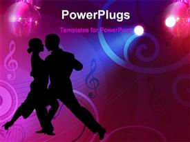 PowerPoint template displaying a man and a woman dancing salsa on a music background