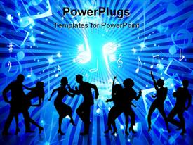 PowerPoint template displaying animated depiction of human figures dancing on a blue background