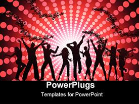 PowerPoint template displaying black silhouettes of dancing people on abstract floral pattern with disco lights on red and black background