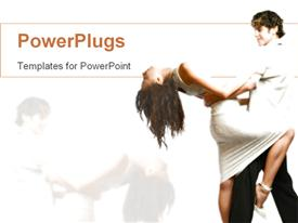 PowerPoint template displaying teen couple dancing, elegant dressed woman and man dancing together