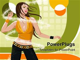 PowerPoint template displaying a fashionable lady dancing in a proper disco way