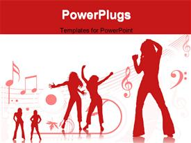Silhouette of females dancing on red background template for powerpoint