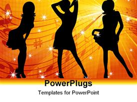 PowerPoint template displaying silhouettes of beautiful dancing girls against a background of yellow and red rays in the background.