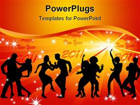 Four silhouettes of dancing couples against a background of golden rays and stars powerpoint template